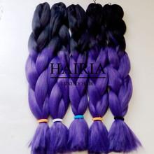 Бесплатная доставка 20 » 100 г черный и фиолетовый ломбер лаванда моноволокно джамбо коробка Senegalese поворот плетение волос