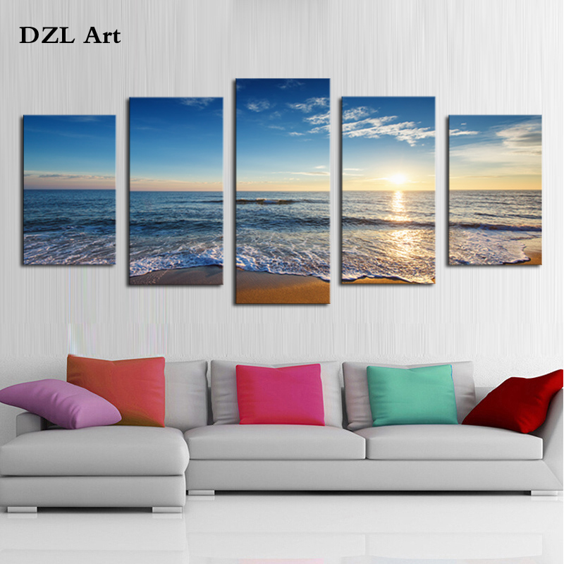 5 piece beauty and the waves modern home wall decor canvas. Black Bedroom Furniture Sets. Home Design Ideas