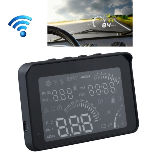 bluetooth HUD auto head up display with OBD line 4 Inch Voice OBDII Fuel Consumption Overspeed Warning interface free shippiing(China (Mainland))