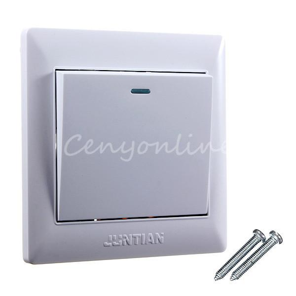 2015 New Universal White Plastic 10A Power 1 Gang Wall Plate Light Lamp Bulb Switch Button Panel Plug Sockets(China (Mainland))