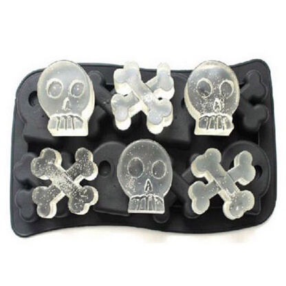 Skull Ice Mold Black Silicone Mold Cooking Tools Cookie Cutter Ice Molds Chocolate Cream Mould Ice Cream Cube 20x10.2x2cm(China (Mainland))