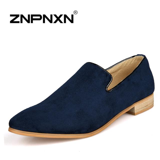 Znpnxn новые 2016 мужчин квартиры мода острым носом мужчины бархатные мокасины туфли-men ...