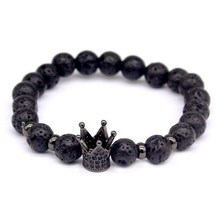 2016 New Fashion Lava Charm Bracelets For Men Popular boys Imperial Crown Braiding Brand Macrame Strand Beads Bracelets Gift .(China (Mainland))