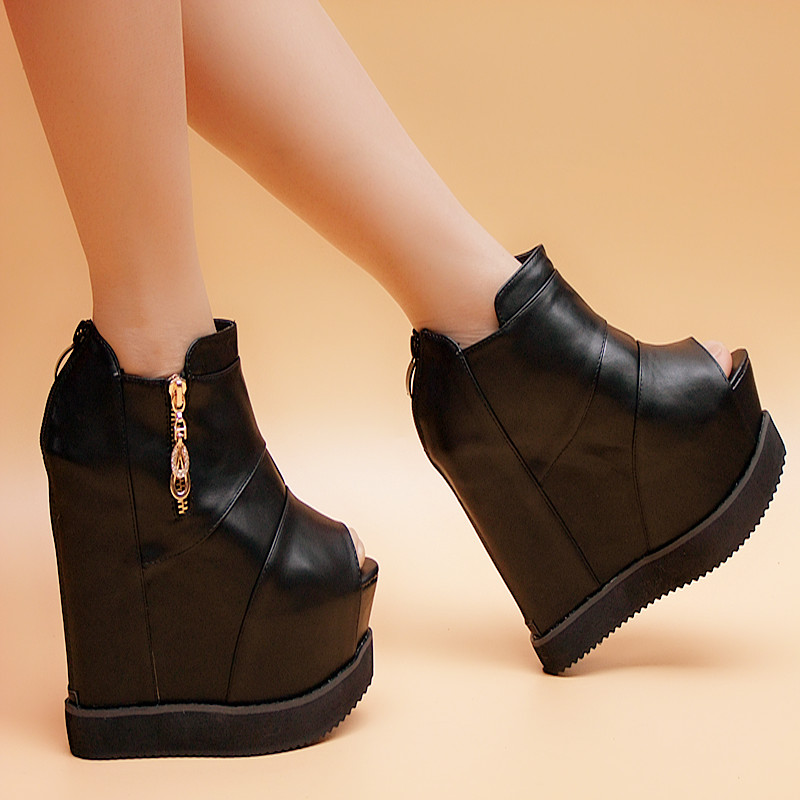 2016 spring and autumn wedges sandals zipper platform shoes elevator 15cm ultra high heels boots ankle boots female<br><br>Aliexpress