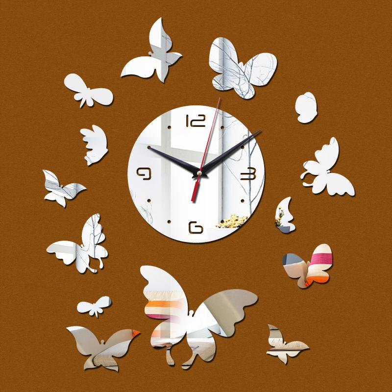 rushed 2016 real angel figure new wall clocks art modern luxury diy 3d watch crystal mirror clock sticker decor free shipping(China (Mainland))