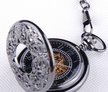 Free Shipping New Design Tungsten steel plated Hollow-out Mechanical pocket watch Fashion Sports watch wholesale W1056 10PCS/LOT