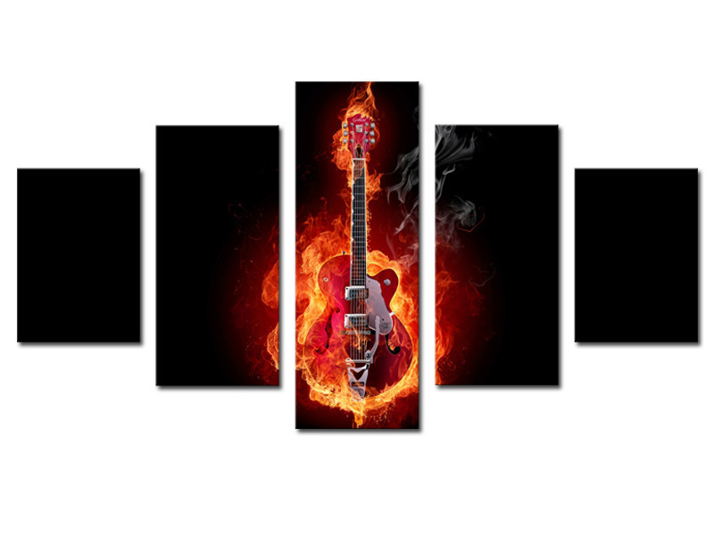 5 Piece Wall Decor For Living Room Drawing Abstract Flame Guitar Picture Modern Home Print Painting On Canvas Art Uframed