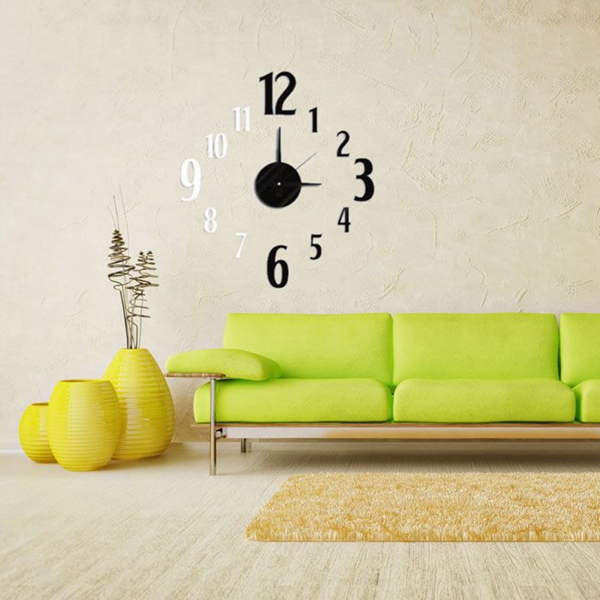 Best Promotion 3D DIY Modern EVA Black & White Square Hours Clock Wall Sticker Home Decor Decal Lowest Price(China (Mainland))