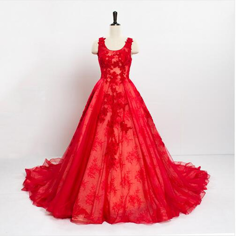 Red Wedding Dresses Lace : Vintage lace china red wedding dresses long tail a line bridal gowns