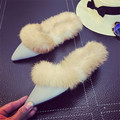 Women s Casual PU Flat Shoes New Winter Velvet Rabbit Fur Pointed Toe Warm Home Plush