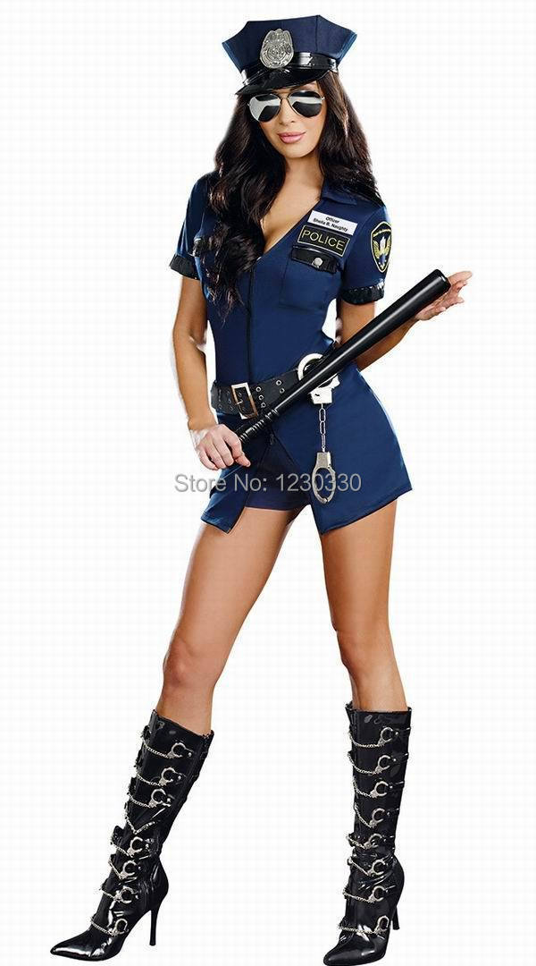 free pp vestido de festa instylesLadies Police Fancy Dress Halloween Costume Sexy Cop Outfit Woman(China (Mainland))