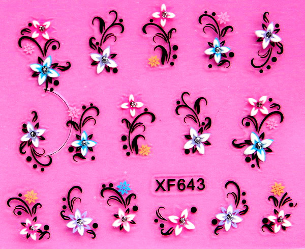 sweet 3D flower design Water Transfer Nails Art Sticker decals lady women manicure tools Nail Wraps