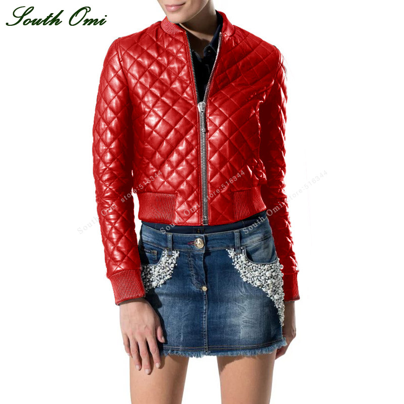 Red Winter Women Quilted Leather Bomber Jacket Black Faux Leather Jacket Jack Motorcycle Coat