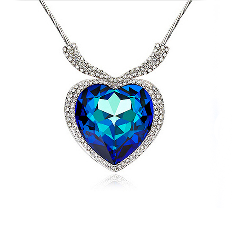 2016 fashion accessories Titanic ocean heart silver pendant necklace for women big blue crystal jewelry Sales Ctrazy gift new(China (Mainland))
