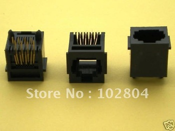 Black 8P8C With flange Top entry Modular Network PCB Jack Connector  100 pcs per Lot