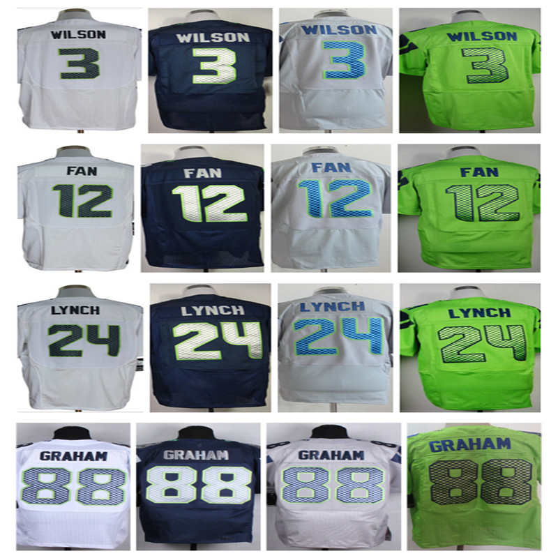 Vente chaude Jimmy Graham Jersey # 3 Russell Willson Jersey 24 Marshawn Lynch 25 Richard Sherman couture Elite Jersey taille : M ~ XXXL(China (Mainland))