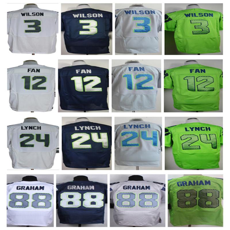 Hot Koop Jimmy Graham jersey #3 Russell Willson jersey 24 Marshawn Lynch 25 Richard Sherman Stiksels Elite Jersey Maat: M ~ XXXL(China (Mainland))