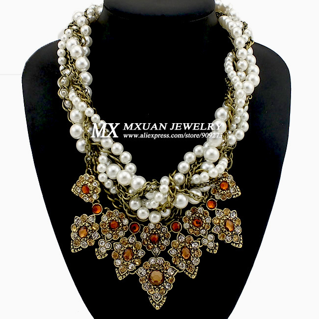 New European and USA Big Exaggerated Fashion Rhinestone Imitation Pearl Necklace Neck Women High quality Jewelry NK215(China (Mainland))