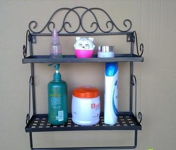 Free shipping 2 tier Iron craft Wall Rack vintage shelf bathroom rack towel bar Iron Decoration handicraft bathroom accessory