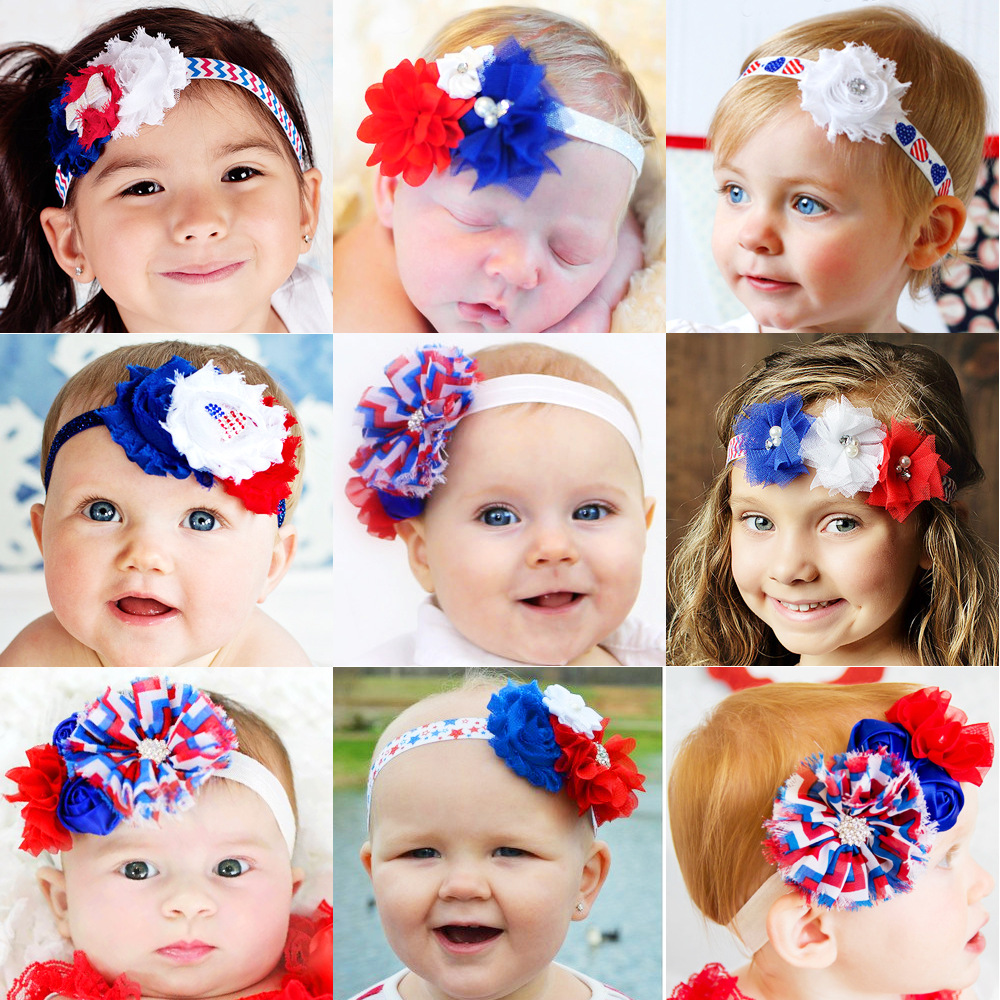 4th of July baby Headband American Flag chiffon Flower Rhinestone shabby satin flower Independence Day Kid Hair Accessories(China (Mainland))