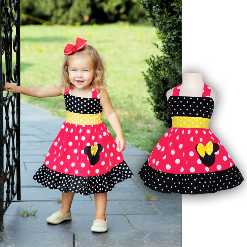 Toddler Girl Sleeveless Minnie Dress Summer Baby Girls Cartoon Mouse Chiffon Dresses vetement enfant Children's Clothing(China (Mainland))
