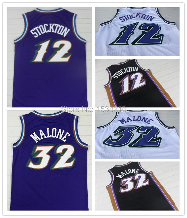 Stitched Utah Double #12 John Stockton #32 Karl Malone Jersey Authentic Snow Mountains Basketball Jersey Throwback Uniforms(China (Mainland))