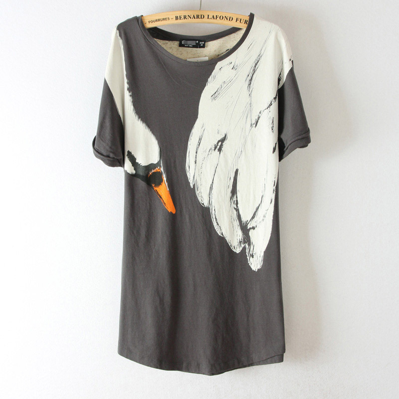 2015 Sale Cropped Mujer Fox's Tail Swan Wings Tshirt Thin Korean Tops Slim-type Very Personal Rolled Cuff Summer Style T Shirt(China (Mainland))