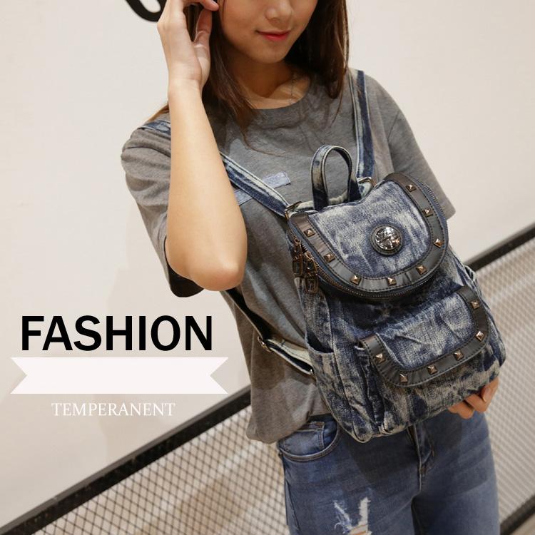 Women rivets small backpack design denim quality daily bag 2016 fashion studs shoulder bag 23*30*13cm E80(China (Mainland))