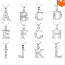 2015 Handmade 925 Sterling silver necklace English Letter Capital Crystal Stone Pendant Necklace 18inch collares populares joyas(China (Mainland))