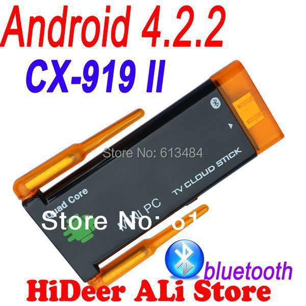 Quad core Rk3188 CX-919II CX 919 II mini pc Dual wifi antenna android 4.2.2 bluetooth built in google android tv stick CX-919 II(China (Mainland))