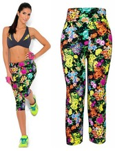 2015 New Brand Capris Sports Leggings High Waist Floral Printing Pants Lady's Fitness Workout Casual Pants Gym Wear (22 Colors)(China (Mainland))