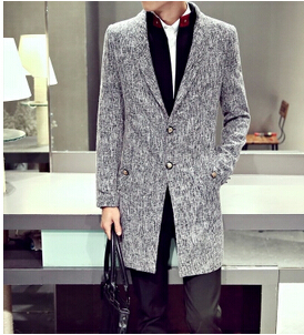 2015 High quality Fashion brand men winter trench coat mens long jacket outerwear coat 100% cotton clothing men brand Trench (China (Mainland))