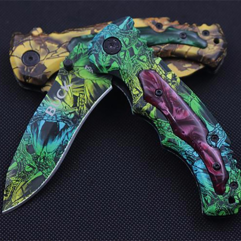Buy Shellmimi Buck Survival Knife Camouflage Folding   Blade Knife Handle Survival Tactical Knifes Hunting   Camping Knives cheap