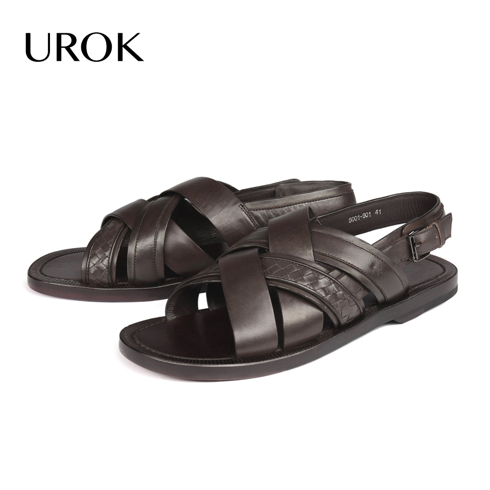 UROK Custom Made Summer Men Buckle Strap Sandals Full Grain Genuine Leather Sewing Brown Flats Solid Breathable Fashion Men Shoe(China (Mainland))
