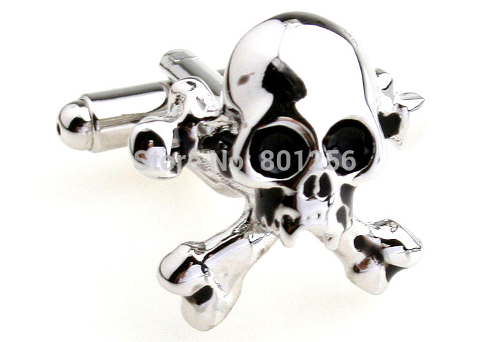 Promotion!!  Skull Cufflinks black color fashion novelty skull design copper material free shipping(China (Mainland))