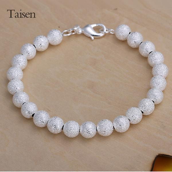 New Fashion Simple Elegant Metallic Frosted Bead Bracelets Bangles Silver Plated Hand Chain Charm Bracelets For Women Jewelry(China (Mainland))