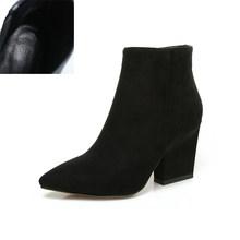 BONJOMARISA Größe 32-43 Winter Spitz Ankle Chelsea Stiefel Frauen 2020 Reife Schwarz OL Booties Damen High Heels schuhe Frau(China)