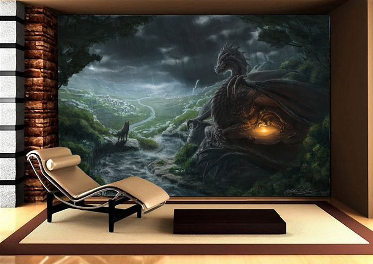 Dragon bedroom decor top 14 home decor wallpaper wallpapers for Dragon mural for wall