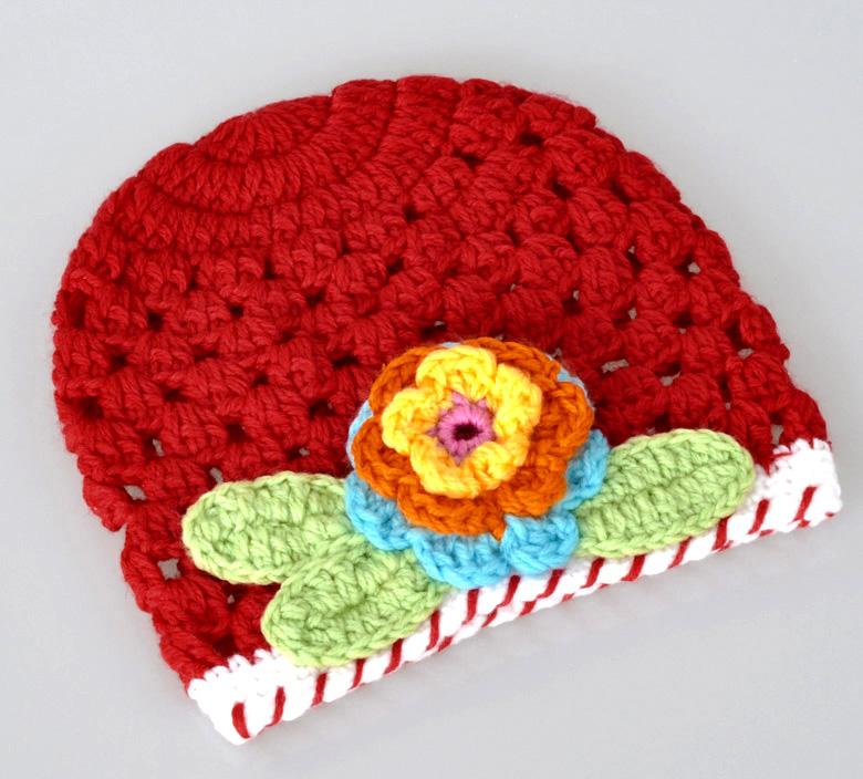 1PC Red Flower Handmade Knit Crochet Baby Beanie Hat Cap 18cmx16cm(China (Mainland))