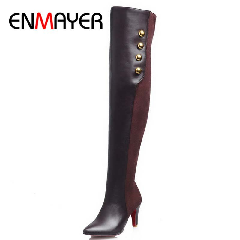 ENMAYER New Arrivals Sweet Women Boots Lace Zipper Thin High Heels Pointed Toe Knee High Boots Women Dating Outdoor Shoes Boots<br><br>Aliexpress