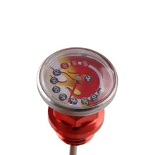 "5.71"" Motorcycle Parts Oil Tank Dipstick With Temperature Gauge Universal for Japan Scooter Motor Red(China (Mainland))"