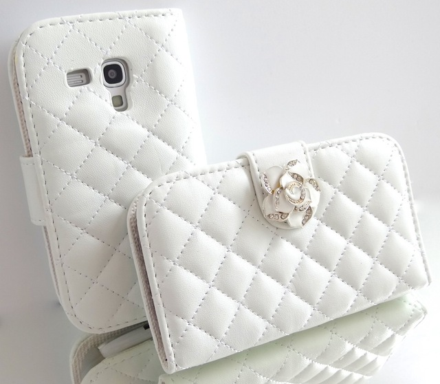 White Crystal Rose Flower Leather Wallet Card Holder Flip Case Cover for Samsung Galaxy S3 MINI i8190