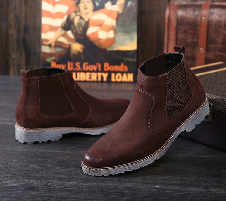 Men Winter Ankle Boots Warm Fur Snow Motocycle Oxfords Male Rubber Leather Suede Chelsea Boots Casual Shoes