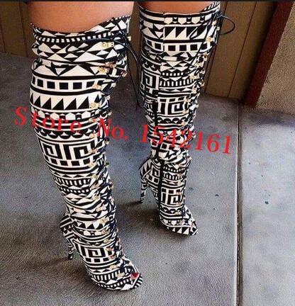 Здесь можно купить  Black & White Tribal Lace Up Peep Toe Thigh High Boots Patchwork Patchwork Over Knee Boots Autumn Boots High Heels Shoes Woman  Обувь