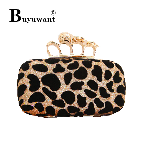 Leopard grain golden evening bag ghost head ring hand caught Fashion jewels make-up box Leopard Grain Bag Series Handbag Series(China (Mainland))