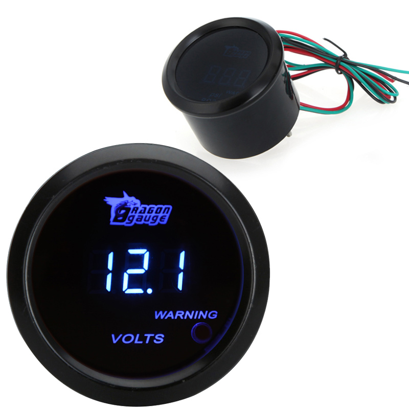 Universal Led Auto Gauge Car Digital Voltage Tester Monitor 52mm 2in LCD 0~15V Warning Light Black 0-15V(China (Mainland))