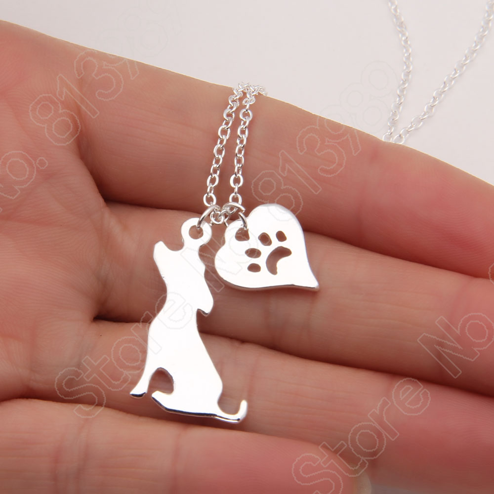 10pc Dog Or Cat Charm With Heart Paw Print Necklace Charms Cat Paw Kitty Feline Necklaces & Pendants Choker Women Christmas Gift(China (Mainland))