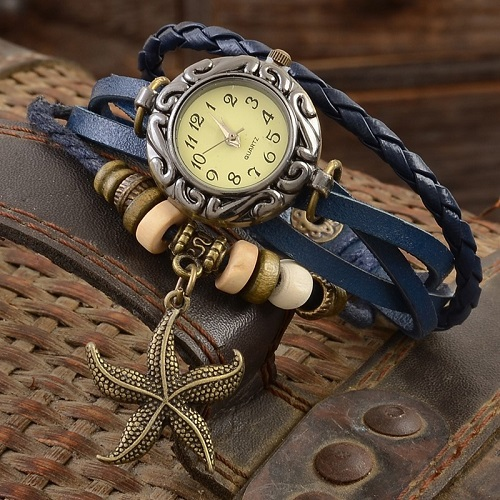 Luxury Women Watches Leather Vintage Antique Womens Bracelet Handmade Weave Starfish Decoration Watch Christmas Gift for girls(China (Mainland))