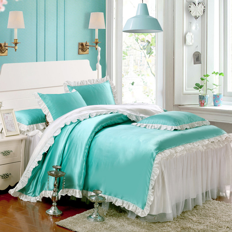 Green white solid golor lace skirt bedsheet korea style duvet cover pillow case 4pcs bedding sets for girl(China (Mainland))