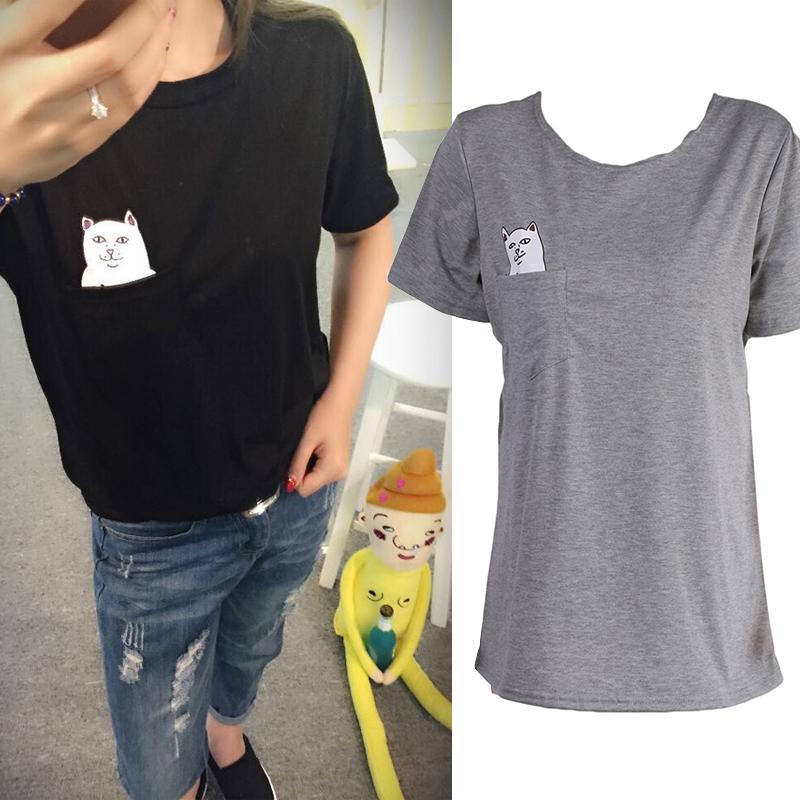 2016 Summer Short-sleeve T shirt Hong Kong Fashion Pocket Harajuku cat Lovers Women Top Cute Tee Shirt Femme(China (Mainland))